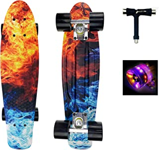 PowerRider Skateboard Complete Mini Cruiser Skateboards 22 inch with Light up Wheels for Kids Teens Adults Beginners