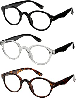 Reading Glasses 3 Pair Spring Hinge Professer Readers for Men and Women Fashion Glasses for Reading