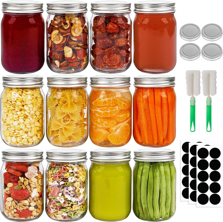 12pcs 12oz Genuine Mason Jars Glass Airtight Mo Regular Lids Ranking TOP5 with
