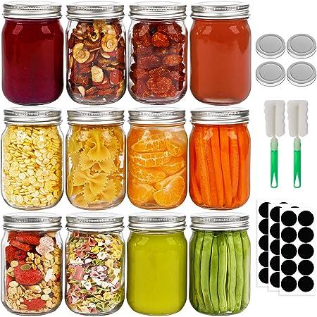 Frascos de cristal con tapa, con boca normal, ideales para avena, regalos de boda, bebidas, ensaladas, tarros de mermelada y manualidades