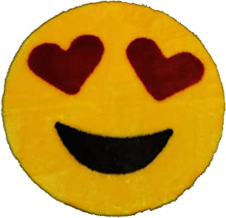 Emoji Rug - Soft and Cute - Made in France - Perfect Emoji Mat Fit for Any Room - Dorm Bed Bathroom Kids Room Emojis (Heart Eyes) Non-Slip and Machine Washable Faux Fur 2' 2