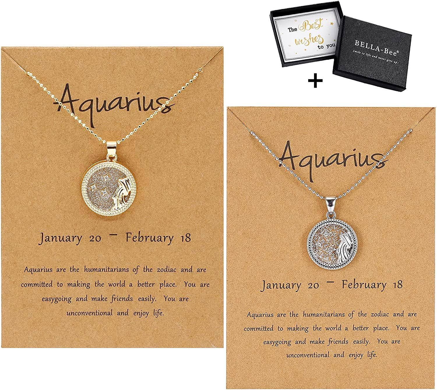 BELLA-Bee 2PC New Shipping Free Shipping SET 12 Spasm price Constellation Astrolo Coin Pendant Necklace