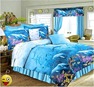 Tropical Living Dolphins Cove Sea Life Blue Comforter & Sheet Set (8pc King Size 101
