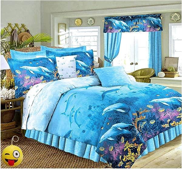 DOLPHINS Cove Sea Life Blue Comforter Sheet Set 8pc Full Size 76 X 86