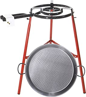 Castevia Complete EcoSet Polished Steel Paella Pan 18-Inch 46cm up to 12 servings + Paella Gas Burner