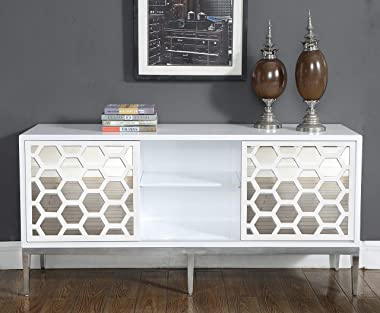 Meridian Furniture Zoey Collection Modern   Contemporary Mirrored Sideboard Buffet, Rich Chrome Stainless Steel Base, White L