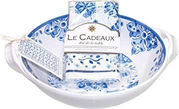 "Le Cadeaux Moroccan Blue Melamine 9.25"" Salad Bowl with Handles and Tea Towel Set"