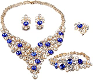 Womens Luxury Africa Dubai 18k Gold Plated Jewelry Sets Wedding Rhinestone Crystal Bib Statement Necklace Earrings Set for Brides Party Prom
