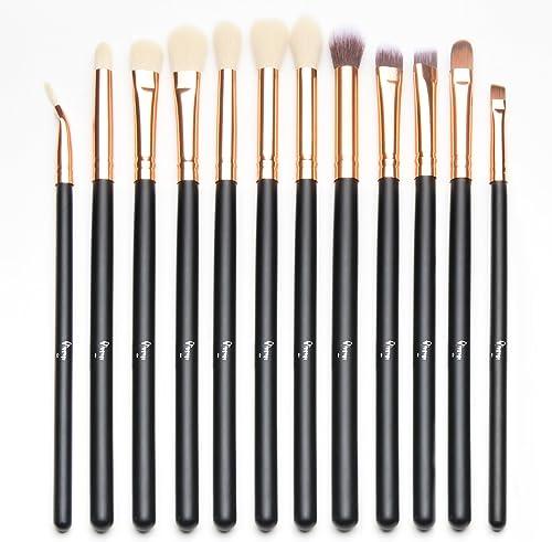 Qivange Eyeshadow Brushes, Cosmetics Eyeliner Eyebrow Blending Makeup Brushes Set(12pcs, Black with Rose Gold)