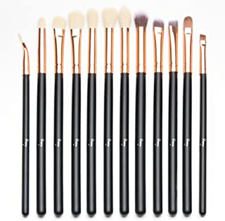 Qivange Eye Makeup Brushes Set, Synthetic Eyeshadow Brushes Eye Makeup Brush Set Cosmetics Brushes Concealer Eyebrow Eyeliner Eyeshadow Blending Brushes(12pcs, Black with Rose Gold)