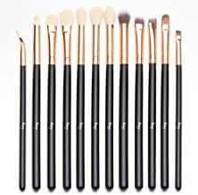 Qivange Eye Makeup Brushes Set, Synthetic Eyeshadow Brushes Eye Makeup Brush Set Cosmetics Brushes Concealer Eyebrow Eyeliner Eyeshadow Blending Brushes(12pcs, Black with Rose Gold)