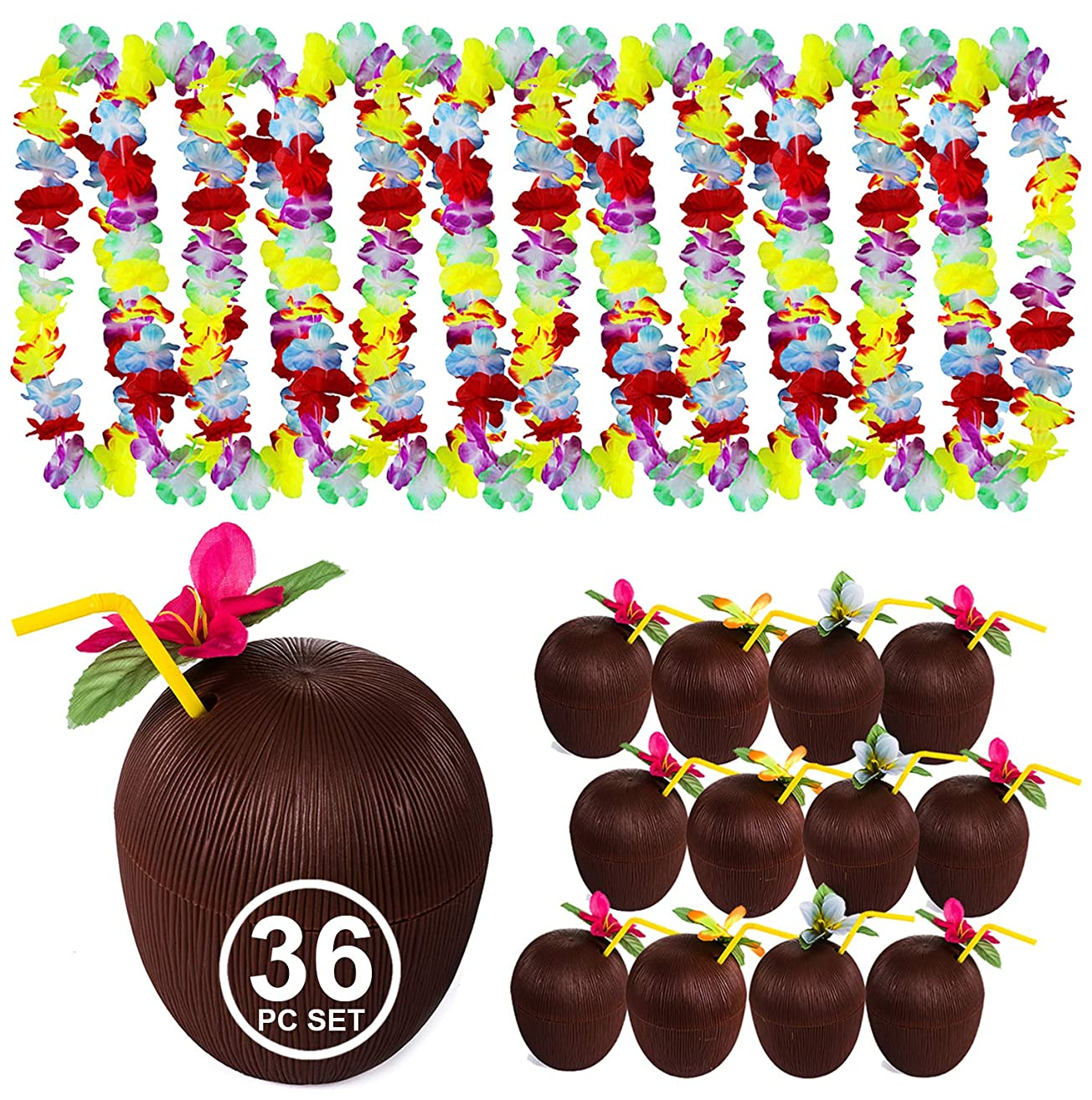 Tigerdoe Luau Party Supplies - Coconut Cups - Flower Leis - Tiki Party - Hawaiian Costume - Hawaiian Party Decorations
