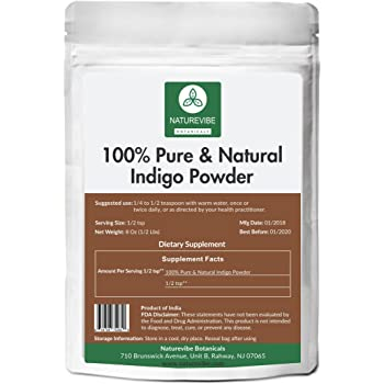 Amazon Com 100 Pure Natural Indigo Powder 1 2lb By Naturevibe Botanicals 8 Ounces For Hair Color Beauty