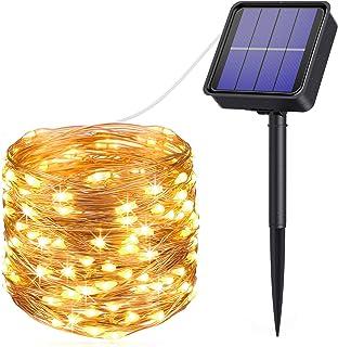 AMIR Solar Powered String Lights, 33ft 100 LED Outdoor String Lights, 8 Lighting Modes Waterproof Solar Decoration Lights ...
