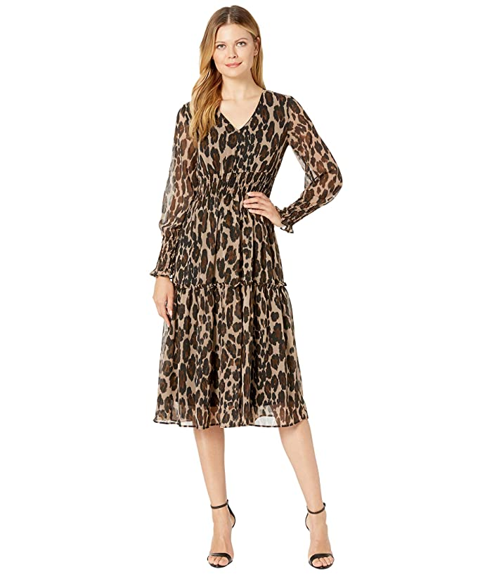 Long Sleeve Leopard Print Smocked Waist Midi Dress by Taylor