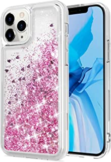 WORLDMOM Compatible with iPhone 12 Case and iPhone 12 Pro Case,Bling Flowing Liquid Floating Sparkle Colorful Glitter Wate...