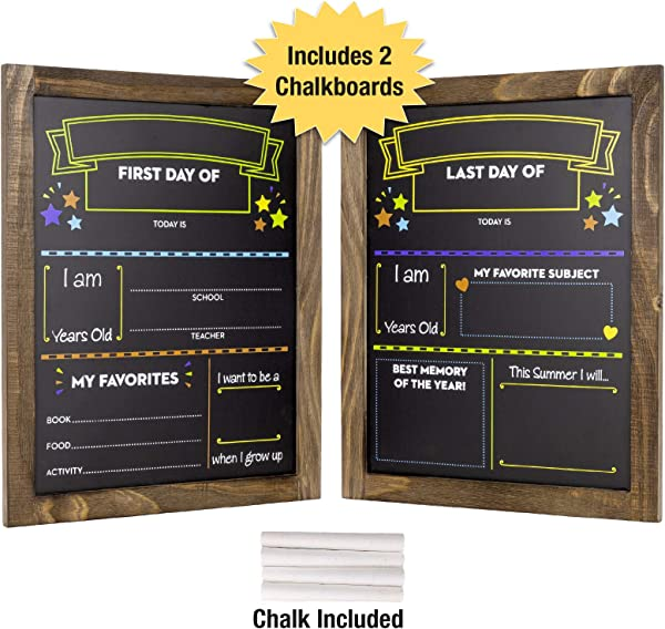 First Day And Last Day Of School Chalkboard Wooden Frame Photo Prop Board Sign For Kids Erasable Reusable 13 25 X 10 875 White Chalk Included Set Of 2 Boards