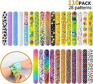 110 Pcs Slap Bracelets, Party Favors Slap Bracelet Pack with Colorful Different Patterns, 1.1 x 8.7 Inch