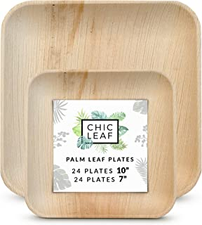 Chic Leaf Palm Leaf Plates Disposable Bamboo Plates Like 10 Inch & 7 Inch Square Party Pack (48 Pc) Compostable and Biodegradable - Better than Plastic and Paper Plates
