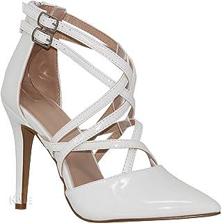 MVE Shoes Women's Fashion Pointed Toe Elastic Strap Open Ankle Pumps
