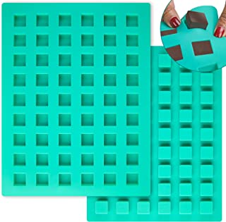 O'Creme Square Brownie Silicone Mold for Chocolate Truffles, Ganache, Jelly, Candy, Pralines, and Caramels
