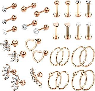 YADOCA 30 Pcs 16G 18G Stainless Steel Helix Cartilage Tragus Stud Earrings for Men Women Barbell CZ Flower Heart Disco Ball Feather Hoop Ear Cartilage Earrings Piercing Jewelry
