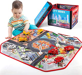 Car Toys   Chibon Metal Pull Back Cars Playset with 2 in 1 Collapsible Toy Cars Storage Box & Durable Road Play Mat   12 p...