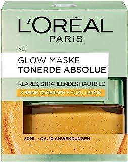 """L""""Oréal Paris Tonerde Absolue Glow Maske, Gesichtsmaske mit reiner Tonerde und Yuzu Lemon, reinigt die Haut intensiv für ein klares und strahlendes Hautbild, 50ml"""