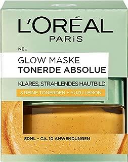 """L""""Oréal Paris Tonerde Absolue Gelbe Glow Maske, mit Yuzu Lemon, reinigt intensiv, für ein klares und strahlendes Hautbild, 50 ml"""