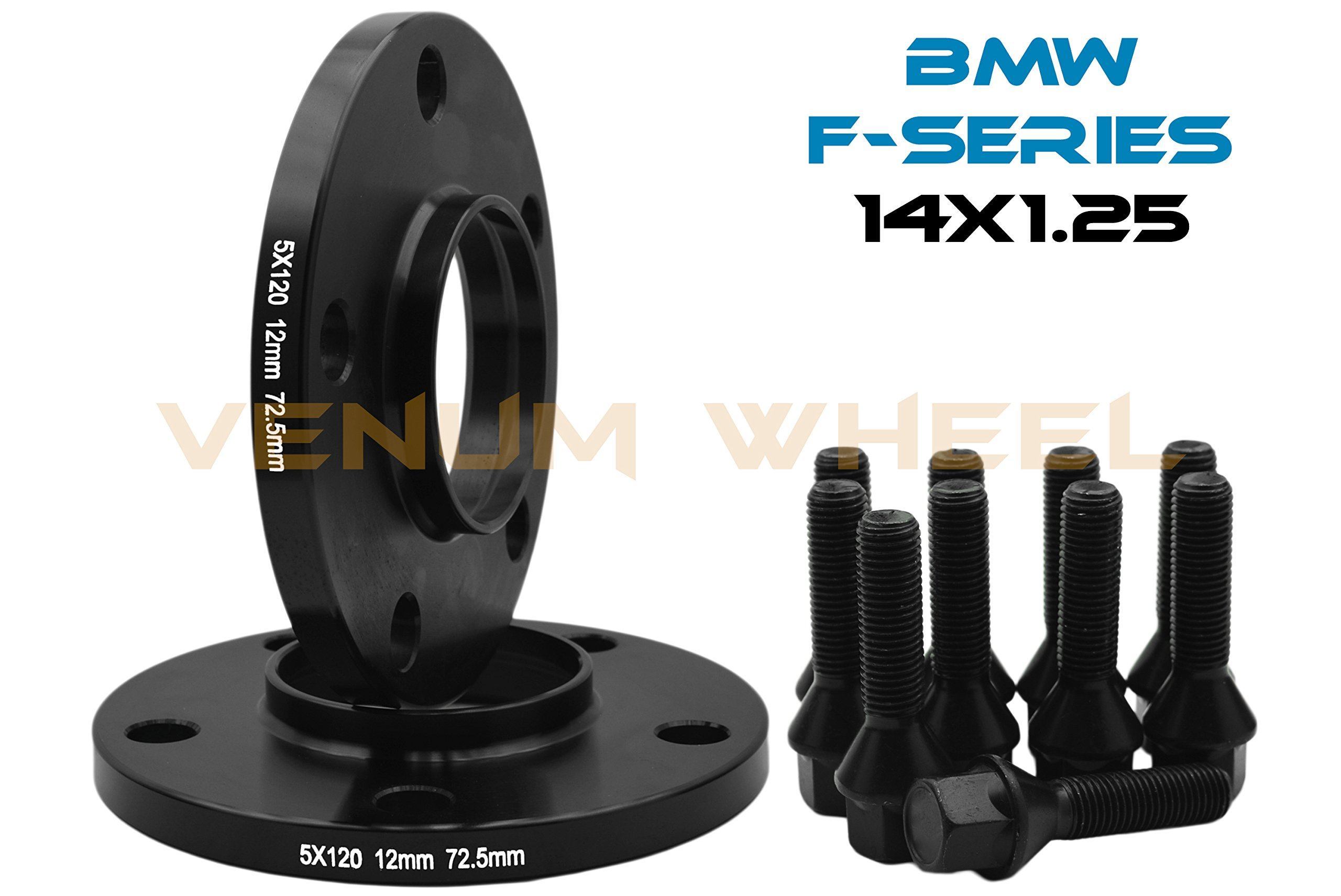 12mm Hubcentric Black Spacers 1 Pair Bolts Nuts for BMW M3 Alloy Wheels