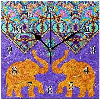 Etnisk indain djur elefant väggklocka tyst icke-tickande fyrkantig konstmålning klocka för hem kontor skoldekor