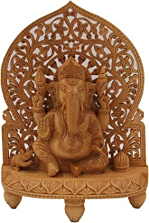 DharmaObjects Large Ganesha Hand Carved Wooden Statue - Ganesh Wooden Sculpture Elephant God Hindu Deity (12 Tall X 8.5 Wi...
