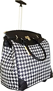 Trendy Flyer Computer/Laptop Rolling Bag 2 Wheel Case Houndstooth Black