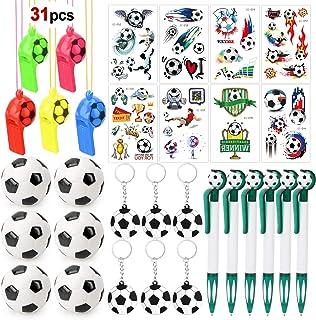 Konsait Football Party Favors 31pcs Football Key Rings, Football Whistles, Bouncy Footballs, Football Tattoos for Kids Bir...