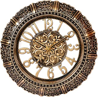 """Geetanjali Handcrafted Designer Premium Clock In Antique Finish For Wall/Home Décor or for Gifts. (Gold, 14"""" x 14"""")"""