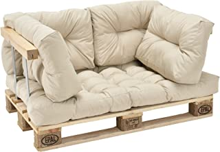 [en.casa] Cojines para sofá de palés 'europalés' - Set- 1 cojín de Asiento + 4 Cojines de Respaldo Beige - Muebles DIY - Ideal para salón - Sala de Estar