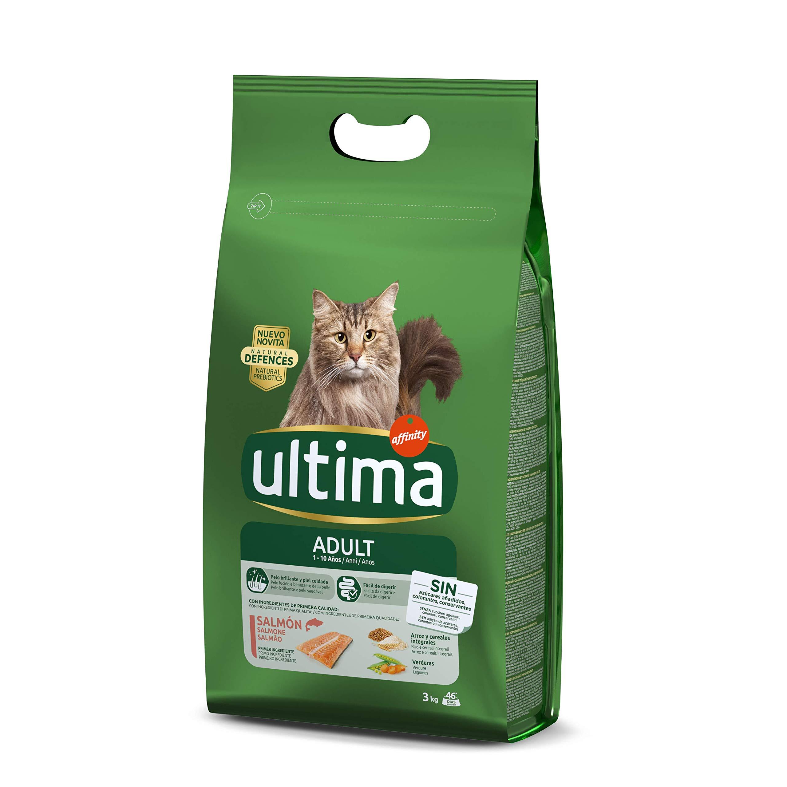 Ultima Pienso para gatos adultos con salmón - 3 kg: Amazon.es ...