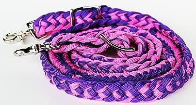 PRORIDER Horse Knotted Roping Western Barrel Reins Nylon Braided Rein Pink Purple 607131