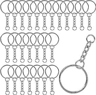 DESON 100 stycken nyckelring med länkkedja 25 mm diameter silver nyckelring kedja splittringar hoppring nyckelring med nyc...