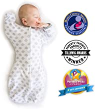 SwaddleDesigns Transitional Swaddle Sack with Arms Up, Tiny Hedgehogs, Medium, 3-6mo, 14-21 lbs (Parents' Picks Award Winner)