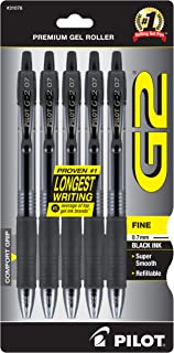 PILOT G2 Premium Refillable & Retractable Rolling Ball Gel Pens, Fine Point, Black Ink, 5-Pack (31078)