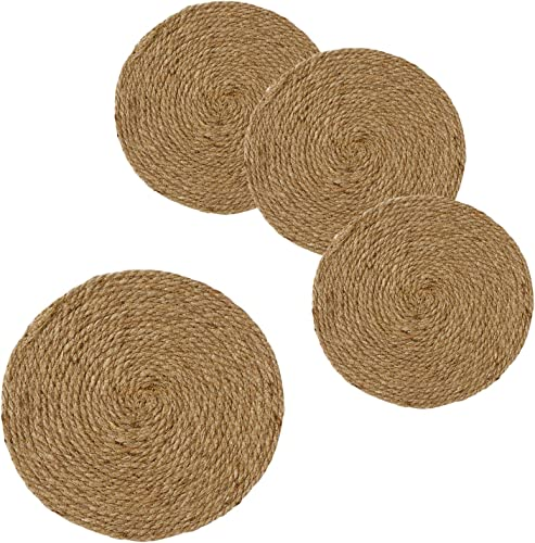 HomeStorie Eco Friendly Jute Round Mats Ideal for Coffee Table Bedside Table Center Table Dining Table Heat Pad Coasters for Home 25 cm 10 inch Pack of 4 AR2832 X 4