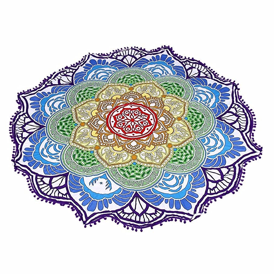 Mofeng Bohemian Mandala Tassel Beach Towel Microfiber Indian Round Tapestry Hippie Throw Roundie Yoga Mat Towel