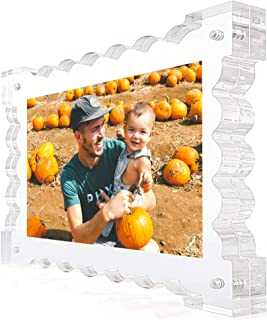 Clear Acrylic Magnetic Picture Frame, Unique Wave Design, 5x7'', Frameless, Floating Look, Crystal Clear Picture Frame Desktop Display, Freestanding, Double Sided, 20 mm Thick, Elegant Gift Box