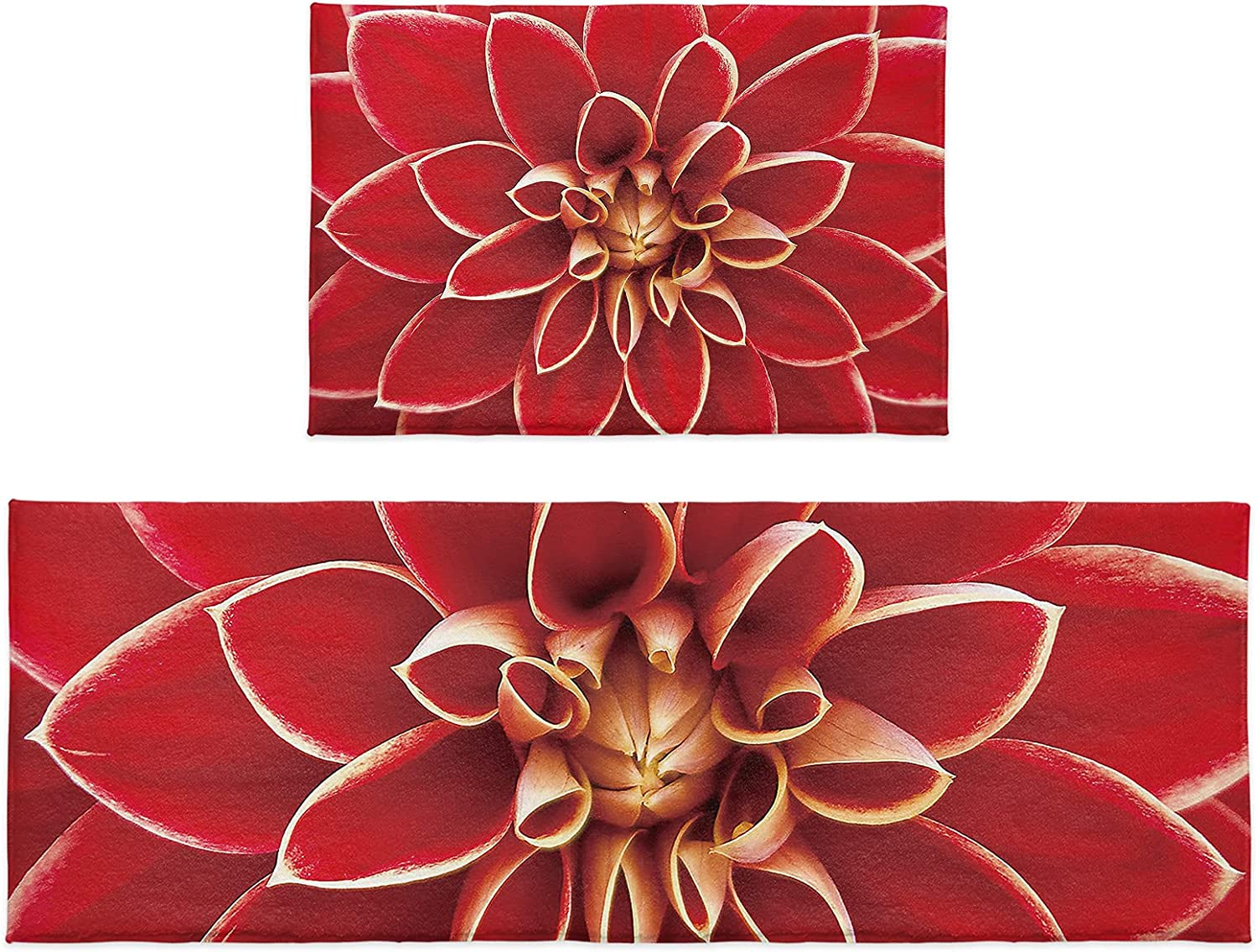 2 Ranking TOP1 Pieces Fluffy Plush Kitchen Rugs Flower Sh Blossom Red Max 80% OFF Vintage