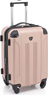 """Traveler's Club Travelers Club 20"""" Expandable Hardside Carry-on Luggage with Easy 360º Mobility, Rose Gold (Metallic) - HS-20720-670"""
