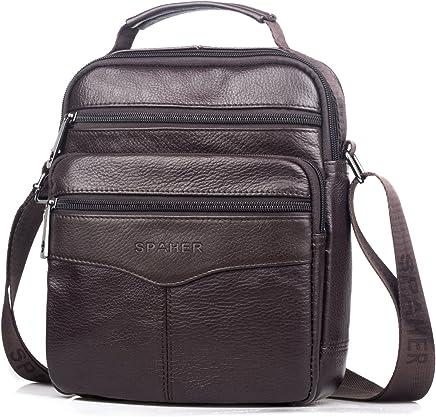 SPAHER Men Leather Handbag Shoulder Bag IPAD Business Messenger Backpack Crossbody Casual Tote Sling Travel Bag with Top-Handle and Adjustable Strap Large Size