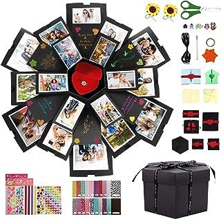 Gifort Caja de Regalo DIY Álbum de Fotos Hecho a Mano, Explosion Box Sorpresa Explosión Caja de Regalo Amor Memoria para Cumpleaños Día de San Valentín Aniversario Navidad Día de la Madre