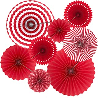 Benvo Party Hanging Fans Red Round Dot Stripes Tissue Paper Flower Fan Party Decorations for Birthday Wedding Bridal Showers Baby Showers Graduation Events Party Accessories, Set of 8