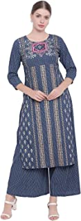 GLOYE WOMEN'S RAYON NAVI BLUE MULTICOLOURED PRINTED KURTA WITH PALAZZO
